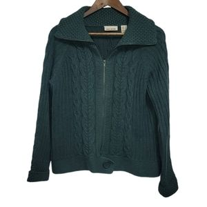 DKNY Jeans Green Knitted Collared Zip Up Sweater L